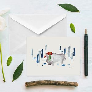 Cute Winter Rhino Card - cards
