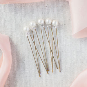 Set Of Five Simplicity Pearl Hairpins - head pieces