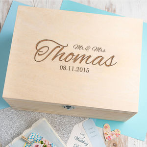 Personalised 'Mr And Mrs' Script Wedding Keepsake Box - storage & organisers
