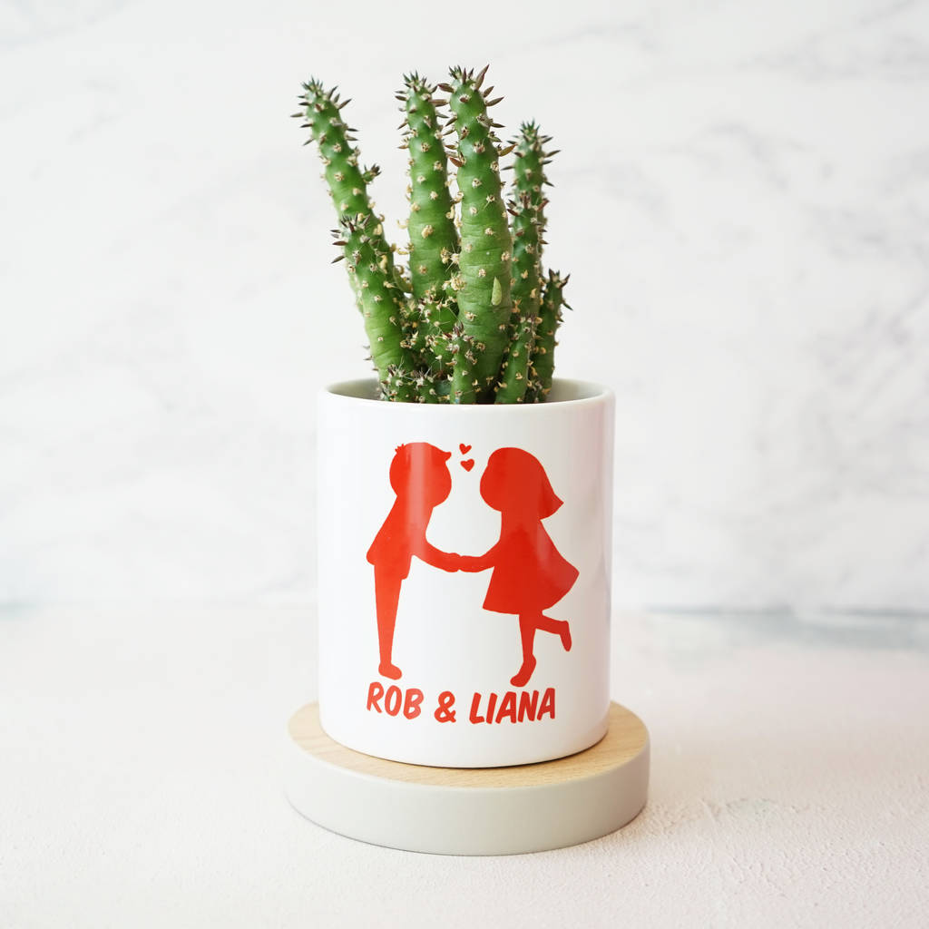 Personalised Kissing Couples Plant Pot