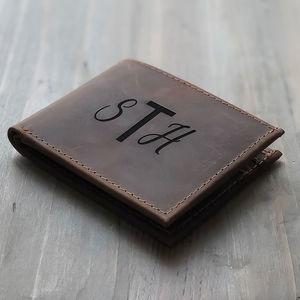 Personalised Monogram Distressed Leather Wallet