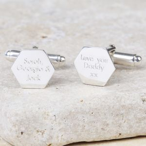 Personalised Sterling Silver Hexagonal Cufflinks - whats new