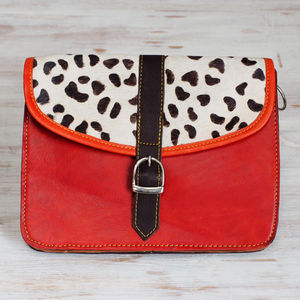 Recycled Leather Animal Print Handbag