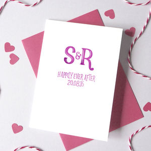 Personalised Watercolour Initials Anniversary Card