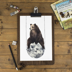 Moon Bear Print - nursery pictures & prints