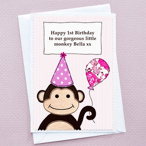 'Monkey' Personalised Girls Birthday Card - birthday cards