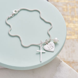 Silver Cross Birthstone Personalised Bracelet - wedding jewellery