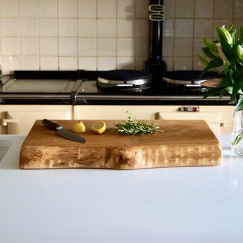 Large Natural Edge Oak Chopping Board Personalised