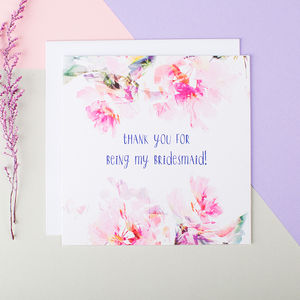 'Thank You For Being My Bridesmaid' Card - wedding cards