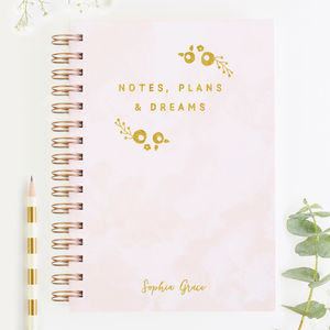 Notes, Plans And Dreams Foiled Notebook Blush Gold Foil