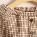 Checked Trousers Brown - Button Detail