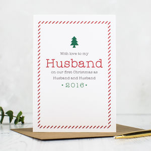 'First Christmas As Husband And Wife' Christmas Card - cards & wrap