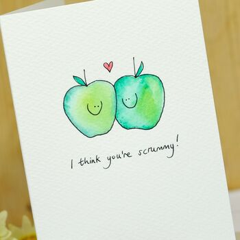 Personalised Apples In Love Hand Illustrated Card