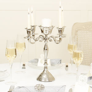 Fine Dining Flowers And Candles Candelabra