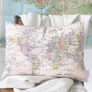 Map Of The World Personalised Cushion - bedroom