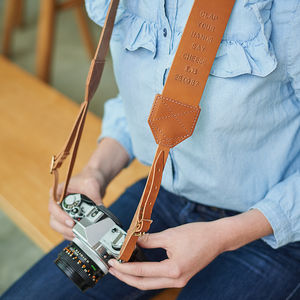 Personalised Retro Leather Camera Strap - gadget lover