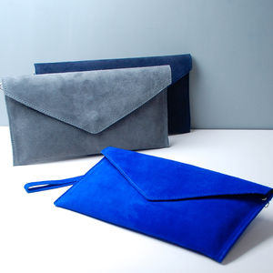Personalised Suede Envelope Clutch Bag New Colours - gifts for her
