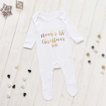 Personalised 1st Christmas Baby Grow