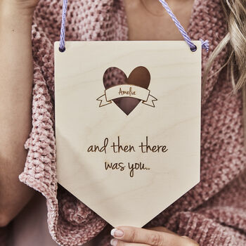 Personalised New Baby Wooden Flag
