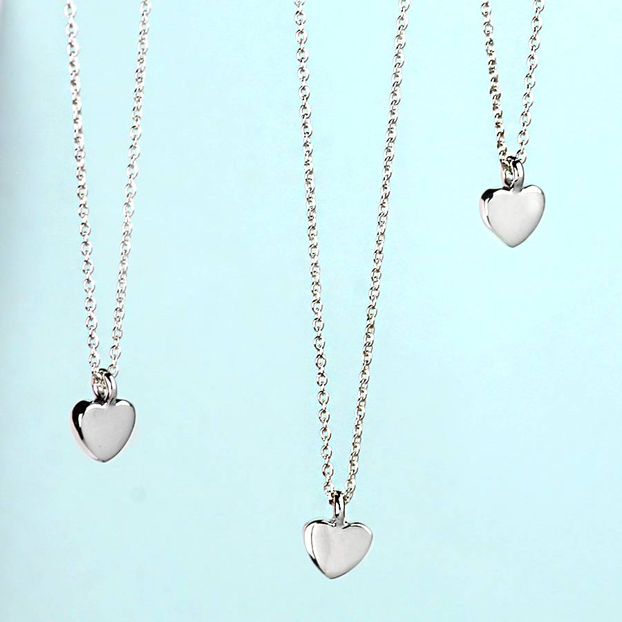 Silver Heart: Mini Silver Heart Necklace By Hersey Silversmiths