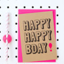 'Happy Happy Bday' Kraft Birthday Card