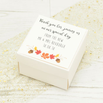 Personalised Autumn Wedding Favour Box