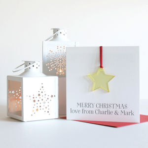 Personalised Christmas Decoration 'Star' Card - cards sent direct