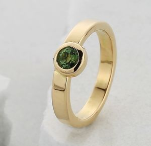 18ct Gold And Green Tourmaline Stacking Unity Ring