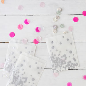 Metallic Silver Foil Spotty Treat Bags And Stickers