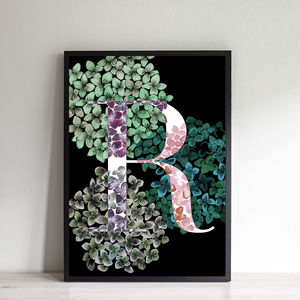 Personalised Hydrangea Initial Print - summer home updates
