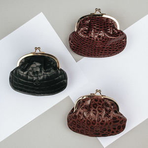 Classic Ladies Leather Coin Purse. 'The Sabina Croco'