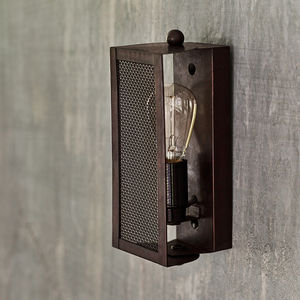 Antiqued Bronze Gauzed Wall Light - the apothecary