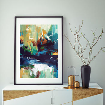 Contemporary Large Abstract Art Print Framed Decor