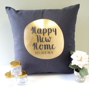 Personalised Gold Circle New Home Cushion - new home gifts
