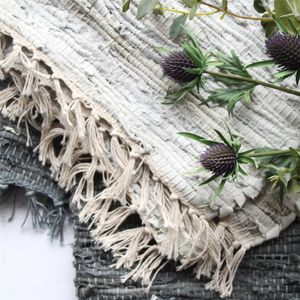 Muted Leather Rag Rug - garden styling