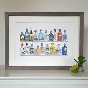 Vibrant Gin Bottles Limited Edition Giclee Print - food & drink prints