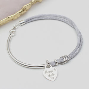 Personalised Silk And Sterling Silver Charm Bangle - gifts for her