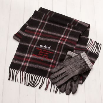 Personalised Woollen Scarf And Leather Glove Set