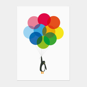 'Mr Penguin Balloon' Postcard - blank cards
