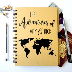 Personalised World Map Travel Journal - gifts for him