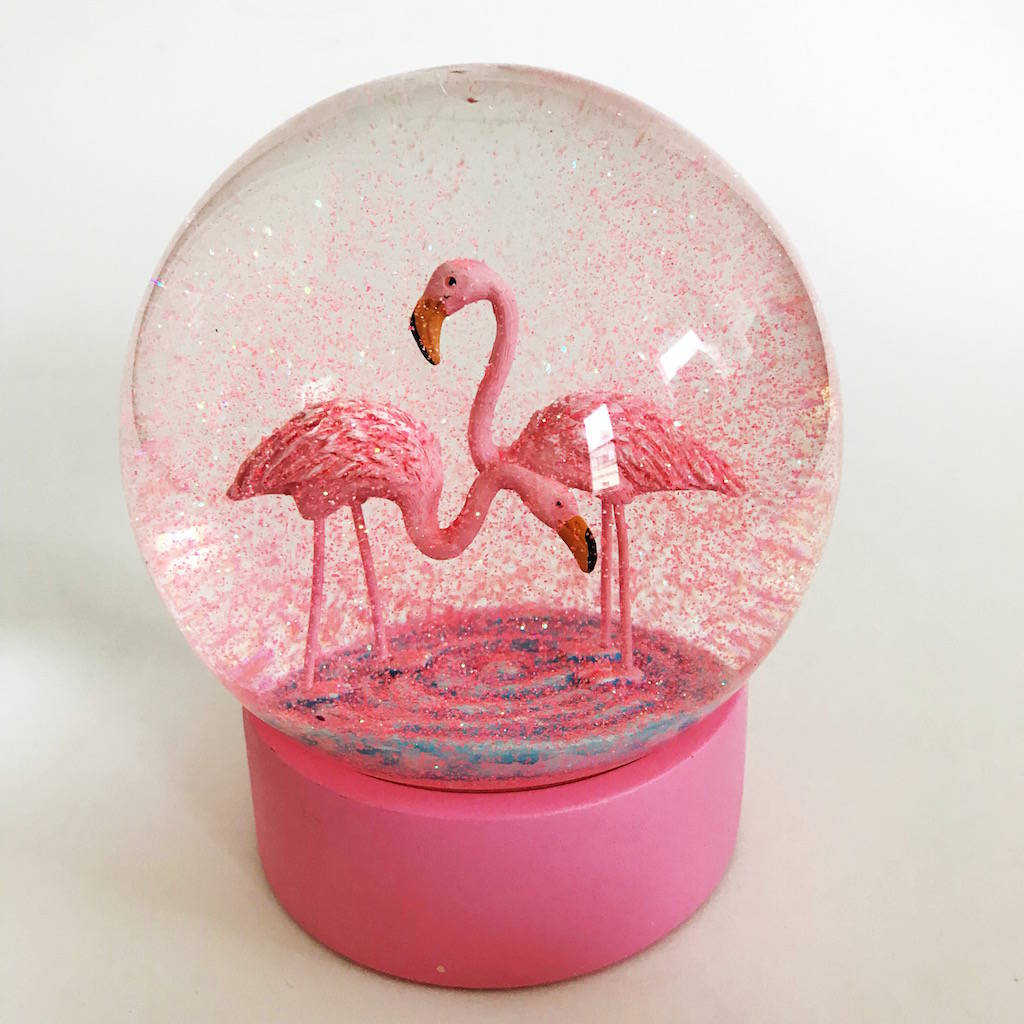 flamingo snow globe by french grey interiors | notonthehighstreet.com