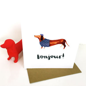 'Bonjour' Sausage Dog Greetings Card