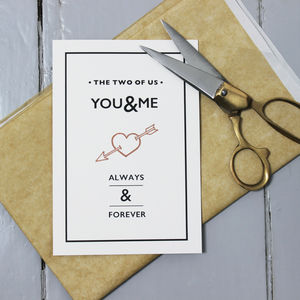 You And Me Card - anniversary cards