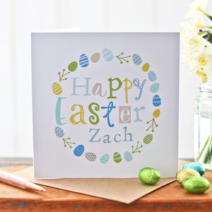 Personalised Easter Egg Wreath Card