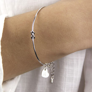 Personalised Silver Knot Bangle - gifts for her sale