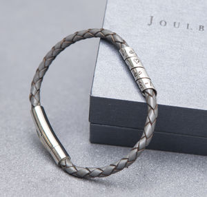 Charcoal Slim Open Scroll Mens Bracelet