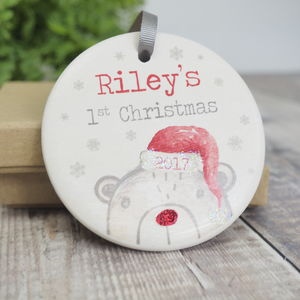 Personalised First Christmas Ceramic Bear Bauble - new in christmas