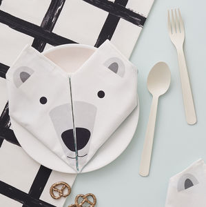 Origami Cotton Napkins : Polar Bears Set Of Four