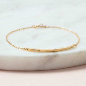 18ct Gold Vermeil Boho Diamond Bar Bracelet - natural artisan wedding trend