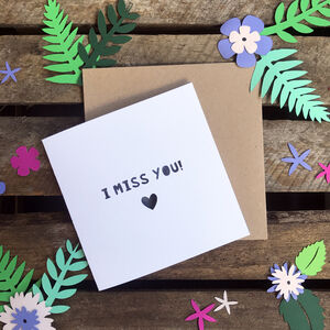 Personalised Handmade 'I Miss You!' Paper Cut Card